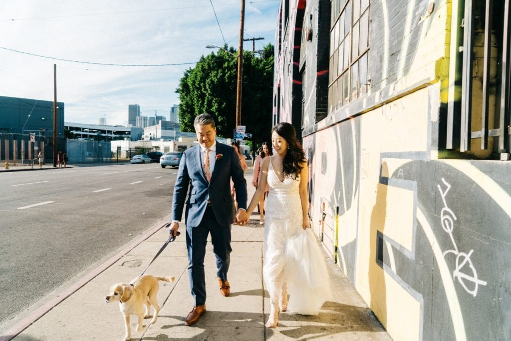millwick los angeles wedding walking through street